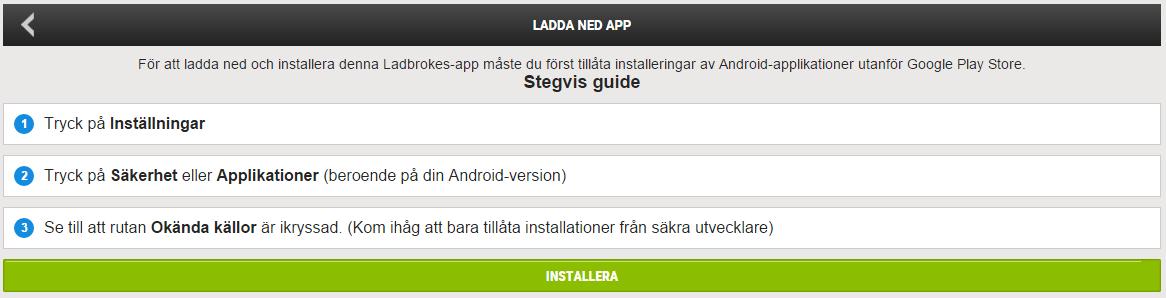 Ladbrokes Android App Nedladdning