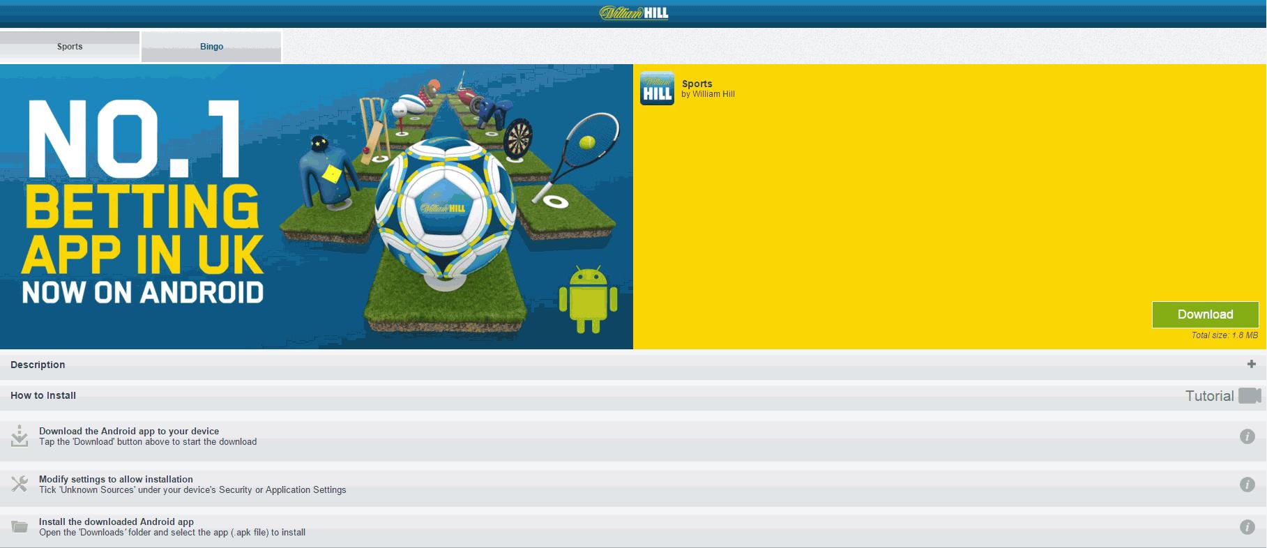 William Hill Nedladdning Android App