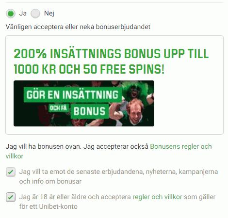 Unibet bonuskod : får du 200% bonus upp till 1000 kronor plus 50 Free Spins