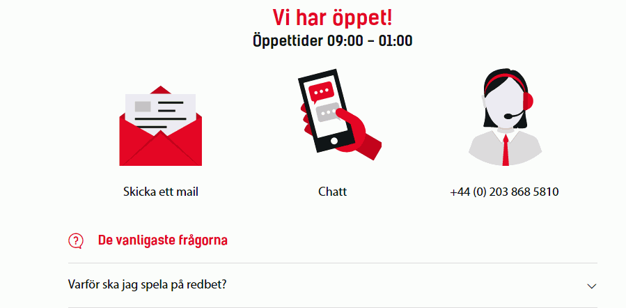 redbet kundjaenst screenshot